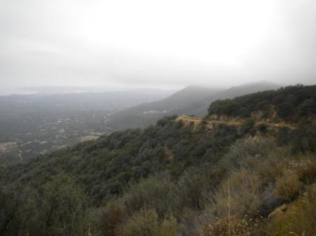 Mountains in mist. Montecito below, Santa Barbara lost in the distant haze.