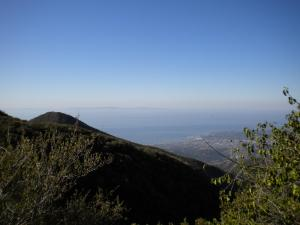 Looking back toward Montecito peak and the ocean