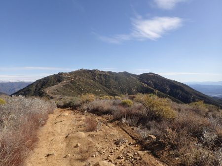 Divide Peak with Lake Casitas visible in the distance (right) and snow (left)